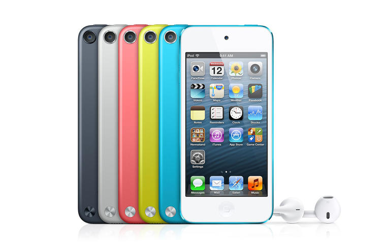 <p>Using Apple's new Lightning USB port, the 5th generation of iPod Touch had colors that matched the iPod Nano, running iOS 5.</p>