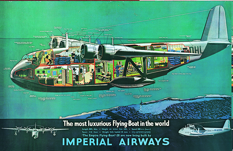 <p>The luxurious Empire flying-boat of the 1930s and '40s included a promenade deck for gazing upon vistas below on trips to Africa, India, and Australia.</p>