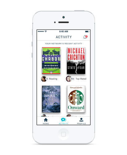 <p>An activity feed built into the app shows you what the people you follow on Oyster are reading, rating, and saving for later.</p>