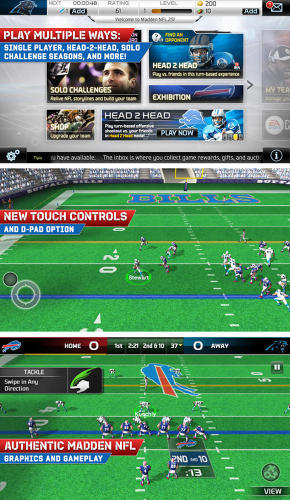 <p>Full disclosure: reviews of Madden NFL 25 are quite mixed (well, pretty negative really), but if you're a hardcore football fanatic it's worth giving a try. The app pairs great gameplay (good!) with a complex leveling system to unlock additional features (not so good!).</p>