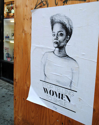 <p>The last time we caught up with Fazlalizadeh, she had put up about 30 posters around Philadelphia, Washington, DC, and her home base of Brooklyn, as part of her series &quot;Stop Telling Women to Smile.&quot;  Her posters feature portraits of different women, including herself and friends, with messages like &quot;My Name is Not Baby,&quot; aimed at reminding men that their objectifying remarks on the street are not cool.</p>