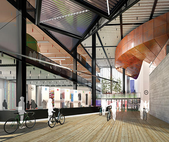 <p>One of the three entrance halls of the building. The site, which sits on the site of a former fish, coal, and grain goods yard, cost Google £650 million--that's just over a billion dollars--for its 2.4 acres.</p>
