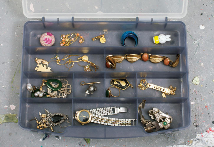 <p>Christina Lei Rodriguez pulls debris from her past to make sculptures. This is her jewelery, including a childhood name bracelet.</p>