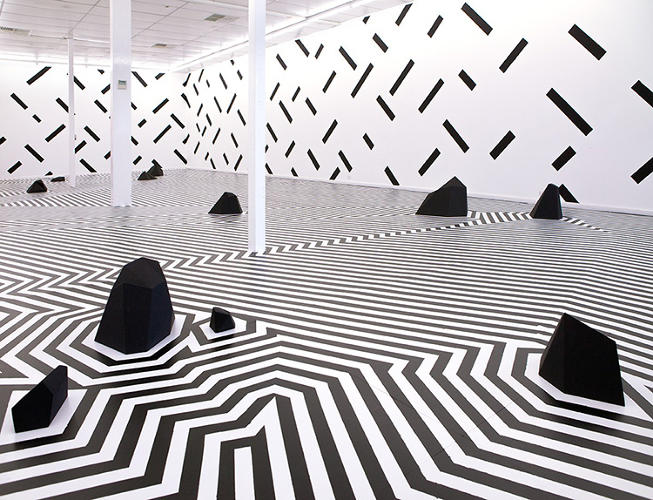 <p>The results, in a serene but challenging space, mash up Op-Art with Songailo's fondness for simple, repetitive geometries.</p>