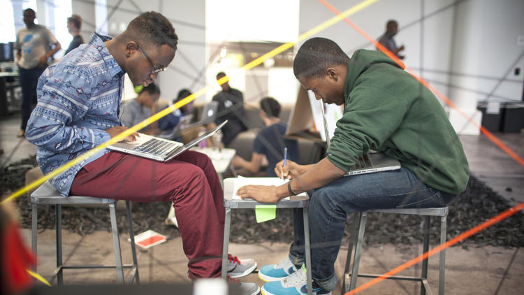 <p>Students were broken up into one of three groups for the rest of the day. Each group was tasked with taking one genre of music and one type of mobile app to create a product.</p>
