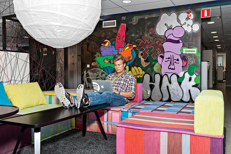 <p>An employee at the Spotify office in Stockholm.</p>