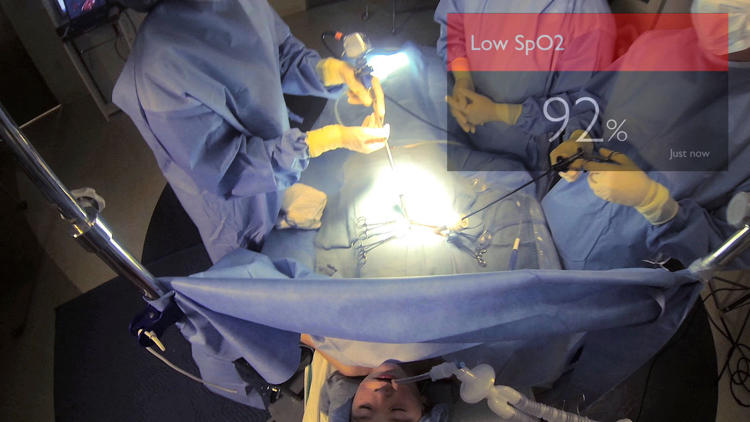 <p>Surgeons can view vital signs on Google Glass.</p>