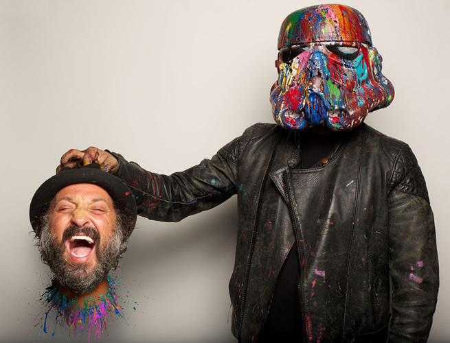 <p>A decapitated Mr. Brainwash feels the force of his splatter-painted trooper helmet.</p>