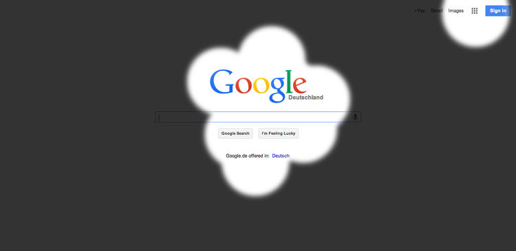<p>The placement of Google's logo and search bar in the center helps with perception.</p>