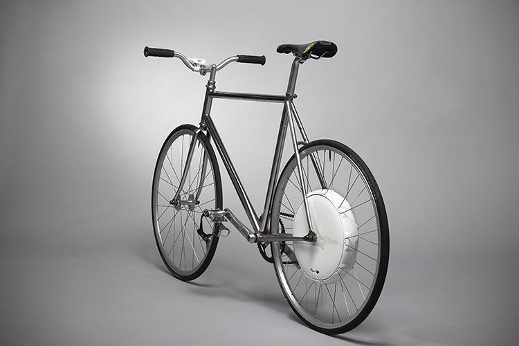 <p>No matter: a group of Slovenians have created the FlyKly Smart Wheel, which also turns any bike into an electric bike, but at a third of the weight of the Copenhagen Wheel, with an open API and the ability to incorporate crowdsourced intelligence.</p>
