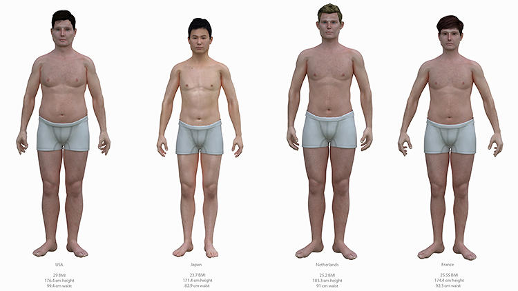 <p>Using body mass index statistics gathered by the Center for Disease Control and Prevention, Pittsburgh-based artist Nickolay Lamm created 3-D computer-generated avatars of average male bodies in the Netherlands, the U.S., France, and Japan as part of his <a href=&quot;http://www.mydeals.com/blog/what-does-the-average-american-man-look-like-compared-to-other-countries/post&quot; target=&quot;_blank&quot;>Body Measurement Project</a>.</p>