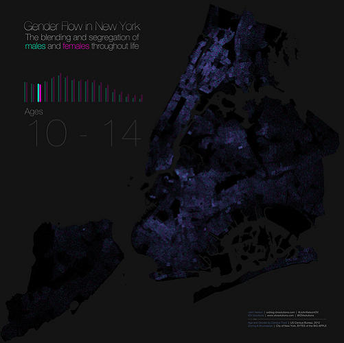 <p>It tracks the &quot;blending and segregation&quot; of the sexes in New York City by age.</p>