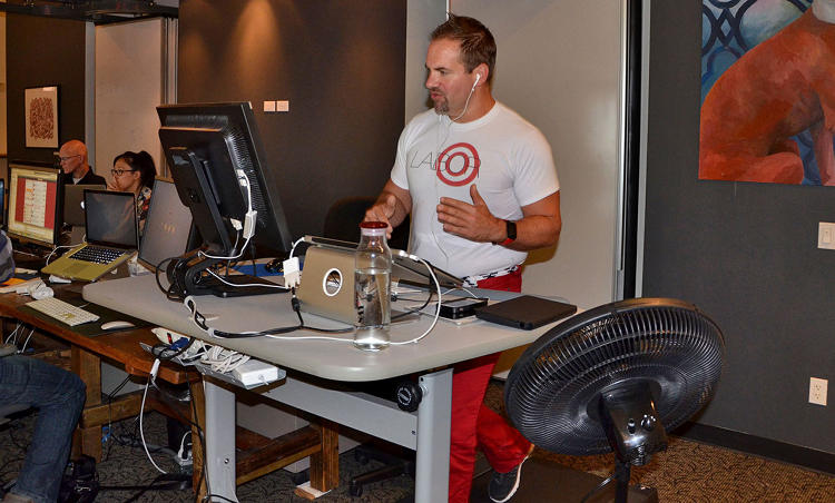 "<p>Owen Thomas, editor in chief of ReadWrite, walks about 10 miles per day while working. ""Don't think of this as a piece of gym equipment in the office. Think of it as a way to turn desk time into walking time—a walking meeting with yourself.""</p>"