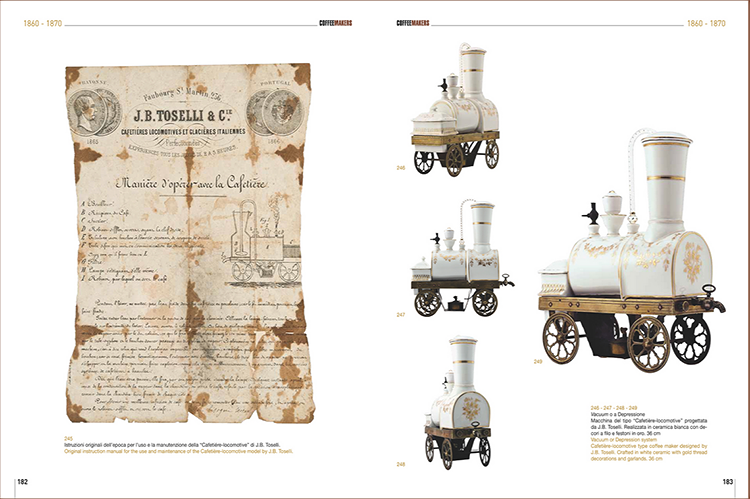 <p>The Cafetiere-Locomotive model by J.B. Toselli, in white ceramic with gold thread garlands, next to its original instruction manual from the 1860s.</p>
