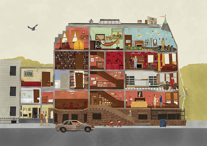 <p>The bulk of the book is devoted to long interviews between Anderson and Seitz that tackle the inspirations and creations of each of the films.</p>  <p>Above: Cross-section of 111 Archer Avenue, from <em>The Royal Tenenbaums</em>, by Max Dalton.</p>