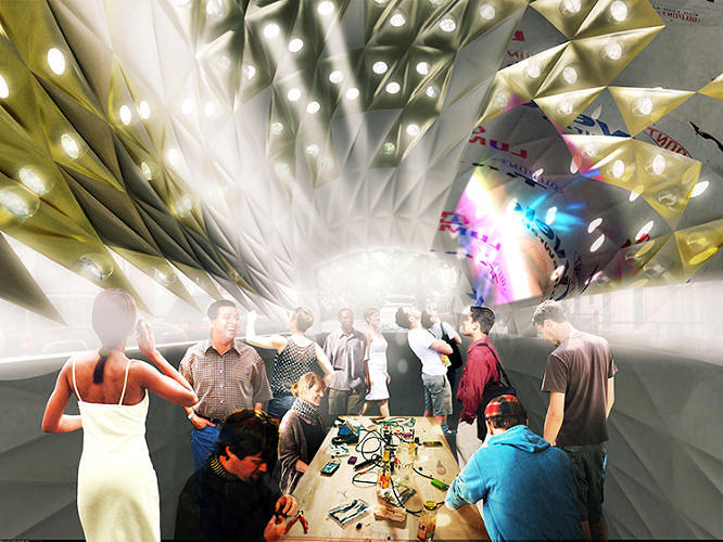 <p>Inside, the space is ideal for hosting hack-a-thons, urban demonstrations, and film screenings, according to John H. Locke, one of the project's architects.</p>