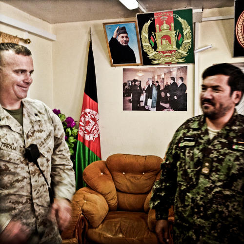 <p>Lt. Col. Phil Treglia with his counterpart, the 1/215 commander, Gen. Muhammed Ali Shujai.</p>