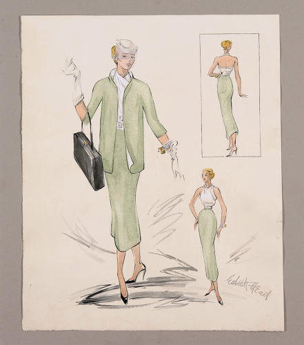 <p>Head's sketches for Grace Kelly's costume in <em>Rear Window</em> (1954).</p>