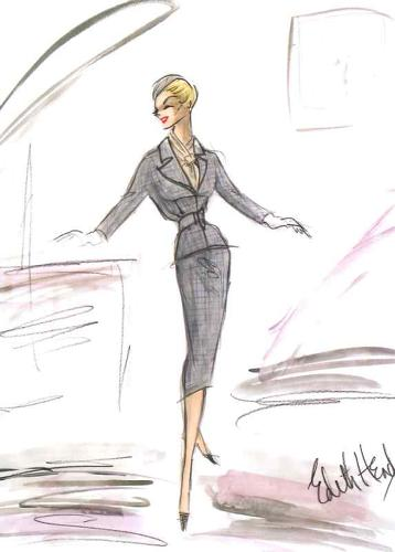 "<p>Head's sketches for Kim Novak's costume in <em>Vertigo</em>. ""I don't wear suits, and I don't wear gray. Another thing, I don't wear black pumps,"" Novak had declared. The no-nonsense Head managed to change that.</p>"