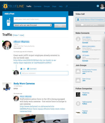 <p>BlueLine's &quot;Traffic&quot; functions like LinkedIn and Facebook's news feed.</p>