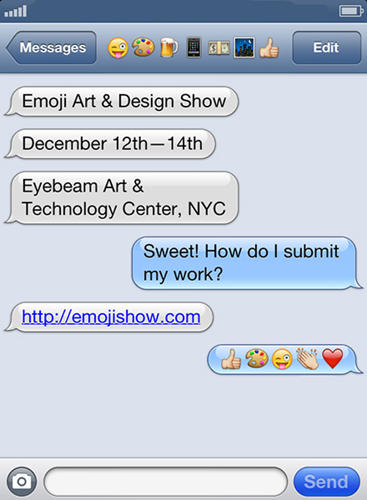 <p>This is how Forced Meme Productions announced the Emoji Art and Design Show.</p>