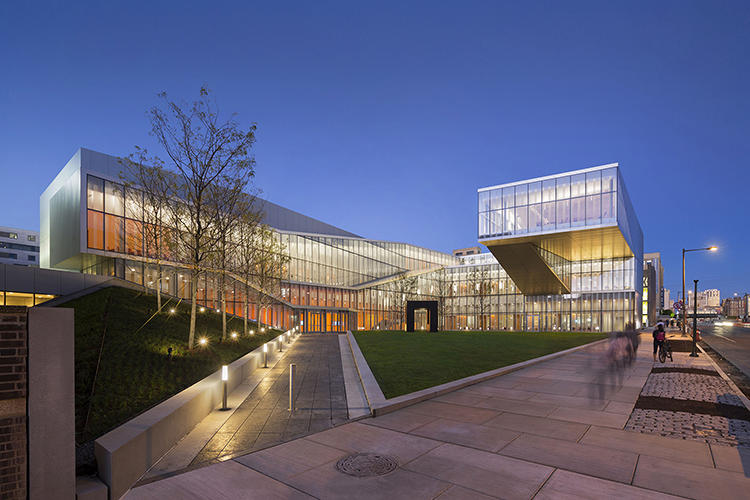 <p>The Krishna P. Singh Center for Nanotechnology is positioned at a vital junction on UPenn's campus. It embraces its urban site and offers up a triangular-shaped courtyard in response.</p>