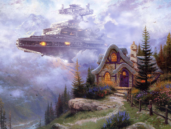<p>The Imperial Star Destroyer looms among lavender clouds. Songbirds flee its sinister vibes.</p>