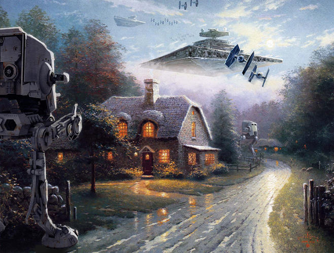 <p>There was always something missing from Kinkade's work, and Bennett has made clear that that something was an invasion by forces of evil from a galaxy far, far away.</p>
