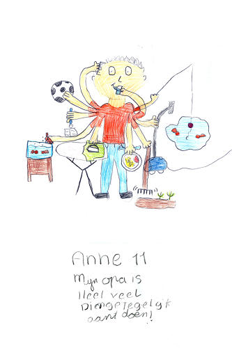 <p>Anne drew her grandfather with 10 amazing octopus arms. He's playing soccer, fishing, raking, ironing, and feeding his pets all at the same time!</p>