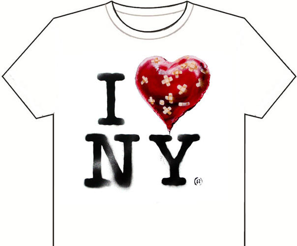 <p>The city's iconic &quot;I Heart NY&quot; T-shirts were given a makeover by the artist. Take the JPEG to a copy story and do it yourself, he suggested.</p>  <p>[<em>Image: <a href=&quot;http://www.banksy.co.uk&quot; target=&quot;_blank&quot;>Banksy</em></a>]</p>