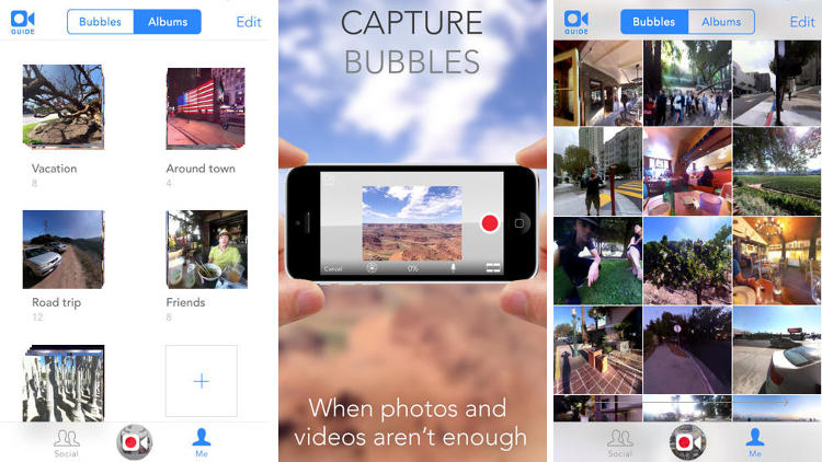 <p>Have you ever taken a &quot;bubble&quot; before? No? Try it: A bubble is a 360-degree spherical photograph. A photo you can play with. Yeah.</p>
