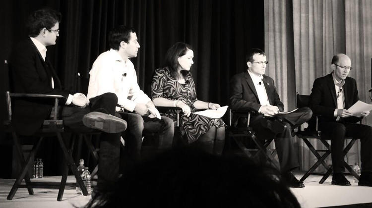 <p>From L to R: Scott Crouch, cofounder and CEO of Mark43, Jim Pitkow, serial entrepreneur, Tim Makris, cofounder and executive director of Sandy Hook Promise, Nicole Hockley, communications director, Sandy Hook Promise, and <em>Fast Company</em> Senior Writer Chuck Salter.</p>