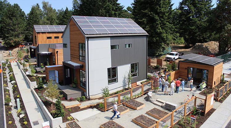 <p>Each home in the new development, from apartments to single-family homes, can run entirely on solar power.</p>