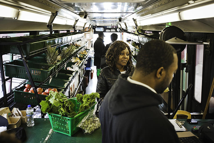 <p>Fresh Moves brings food as close to someone's front door as possible, as often as possible. With targeted stops at schools or other community centers, a few times over a day, the bus can bring a single-aisle produce department within reach of hundreds of people.</p>