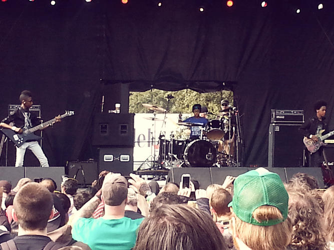 <p>On stage at the Fun Fun Fun Fest</p>