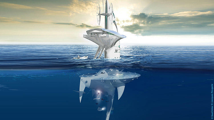 <p>Though researchers onboard will likely spend most of their time underwater, you couldn't possibly miss the SeaOrbiter if you passed by it in the ocean. About 90 feet of the 190-foot structure will tower above the waterline.</p>