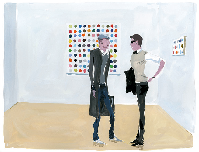 <p>Jean-Philippe Delhomme, <em>Opening at Gagosian</em>, 2010. Personal work, <em>The Unknown Hipster</em>, book; gouache</p>