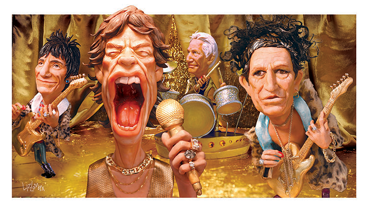 <p>Liz Lomax, <em>The Rolling Stones,</em> 2004. <em>Rolling Stone</em> magazine; polymer clay, oil paint, insulation foam and digital photography</p>
