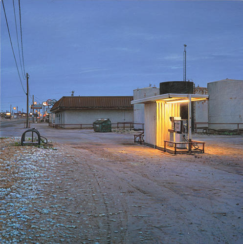 <p>Rod Penner paints scenes in small Texas towns.</p>