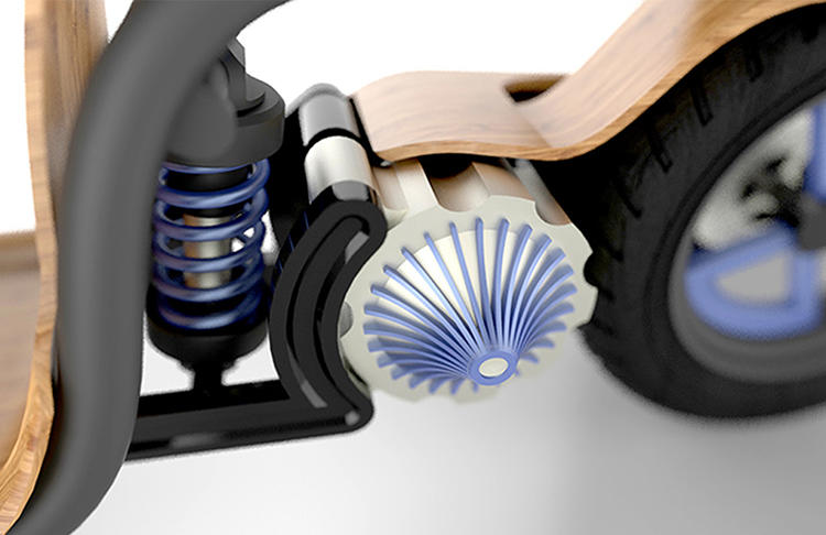 <p>Darby Bicheno, an Australian design student who created the conceptual scooter for a class, says that an air engine runs directly on the air inside, rather than converting energy from a battery.</p>