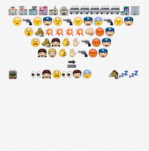 <p>The police raid the district. In an emoji-made cinematic moment, there really are lots of large white vans. Katniss sticks up for Gale while he's flogged, and then Haymitch has to stick up for Katniss. Eventually they all make it home. While Gale sleeps off his trauma, Katniss and Peeta learn their fate to be sent back to the arena. Katniss actually makes that face.</p>