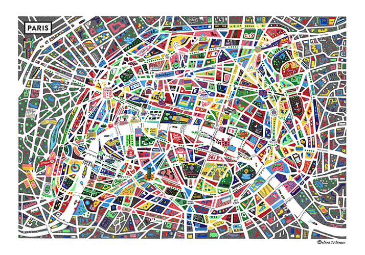<p>French designer Antoine Corbineau's newest print is a neon vision of the City of Light that resembles pop-art stained glass.</p>