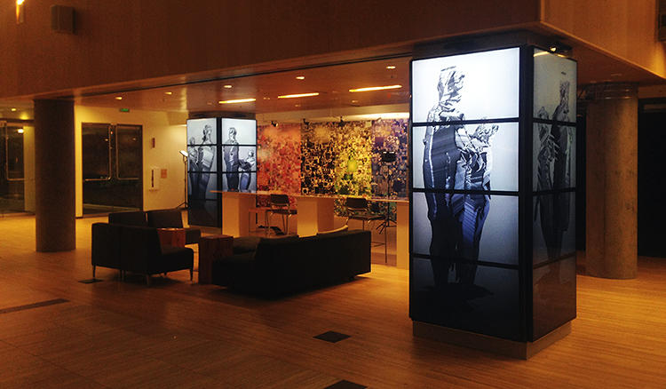 <p>The figures live on columns inside the Studio 99 space (the entry way to Microsoft Research).</p>