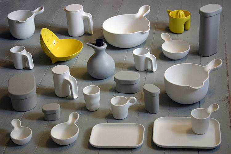 <p>Jensen is a ceramicist and the pieces, produced mostly in melamine, began as ceramics.</p>