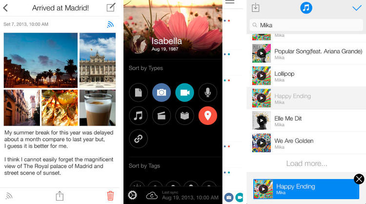 <p>Flava is somewhere between a personal diary and scrapbook--users enter text, photo, voice, location, and multimedia to create a personalized log of their daily going ons. Those memories can then be shared by exporting specific moments, or entire timelines, to social media accounts.</p>