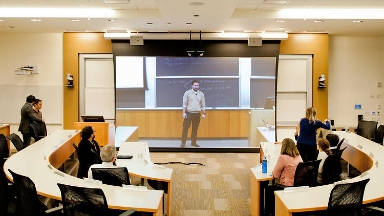 <p><a href=&quot;http://www.fastcoexist.com/1681458/in-ciscos-classroom-of-the-future-your-professor-is-just-an-illusion&quot; target=&quot;_self&quot;>New telepresence software </a>could let you take a class from anywhere and appear as if you're in the classroom.  The University of Pennsylvania's Wharton School is already using it.</p>