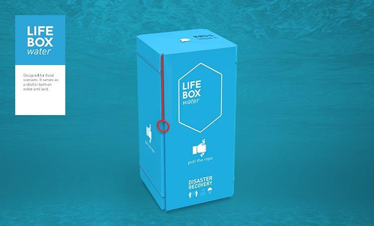 <p>LifeBox Land functions similarly, but the shelter covering already comes attached to the inside of the box. LifeBox Water can transform into a raft when users pull on a tab, and CO2 canisters release gas.</p>