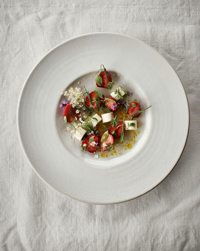 <p>Dessert of strawberries and chamomile. Ingredients include hay cream and &quot;bloomed gelatine.&quot;</p>