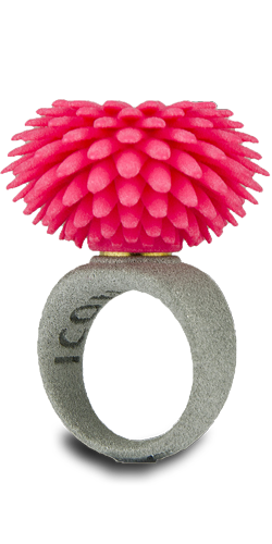 <p><a href=&quot;http://shop.freshfiber.com/jewelry/&quot; target=&quot;_blank&quot;>Freshfiber</a> makes this 3-D printed ring with interchangeable top pieces that snap on and off with magnets. $49.99</p>