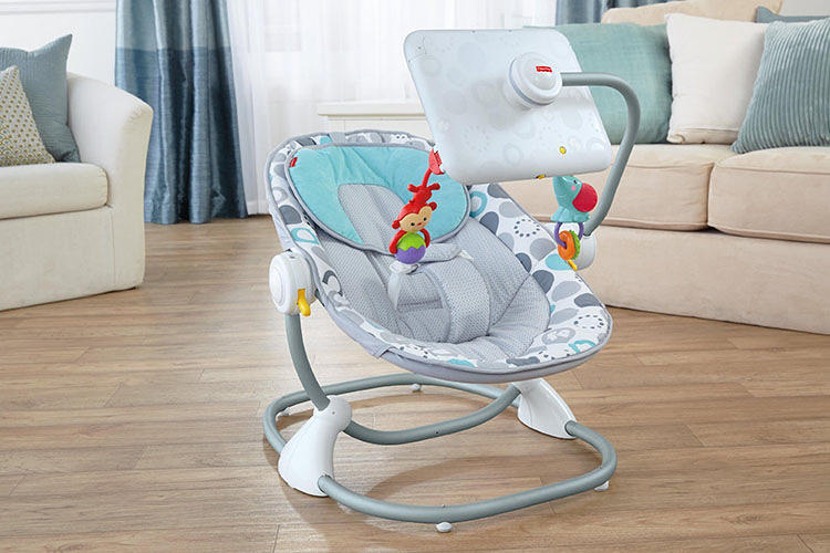 <p>Like conventional bouncy seats, the Apptivity Seat puts some hanging toys and a mirror--designed to help children develop facial recognitions skills, as well as teach them a sense of self--within the child's easy reach. But there' s a twist: the Apptivity Seat allows parents to replace that mirror with an iPad.</p>